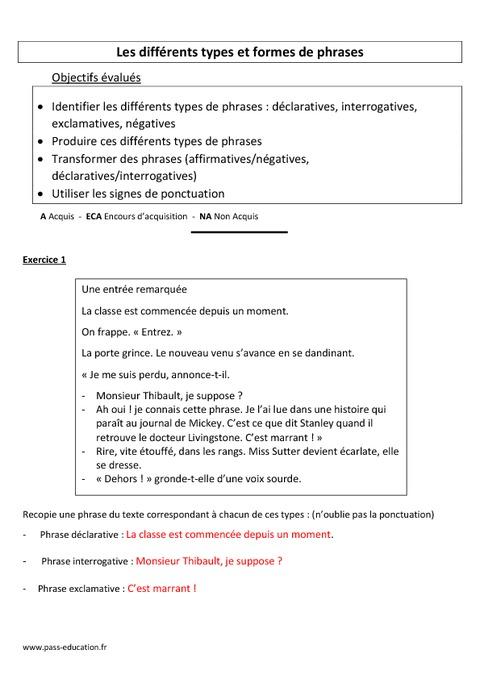 Types et formes de phrases - Evaluation - Cm1 - Cm2 - Pass ...