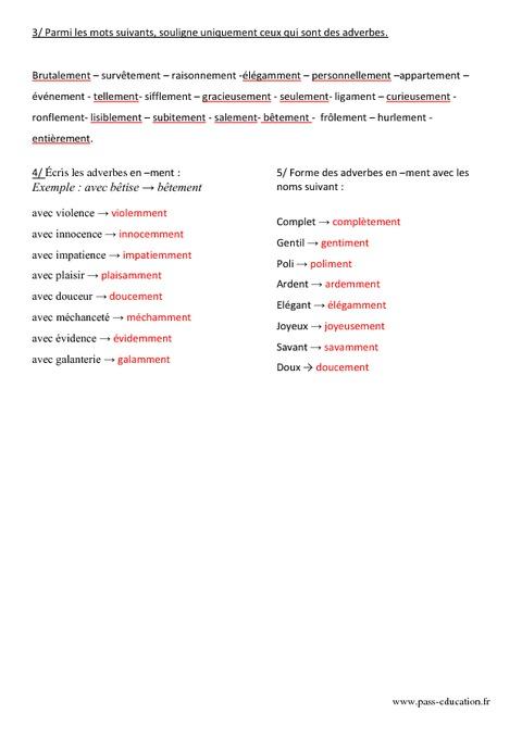 les adverbes en ment exercices pdf