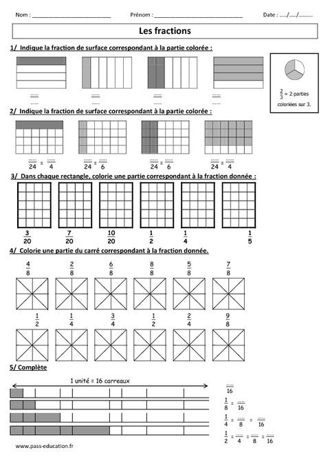 Fractions cm1 cm2 exercices corrig s num ration - Fraction cm1 a imprimer ...