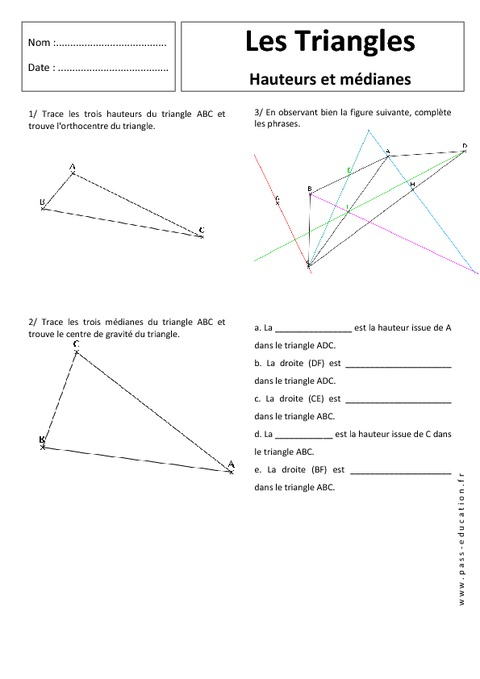 Hauteur - Médiane - Triangles - Exercices corrigés - 5ème ...