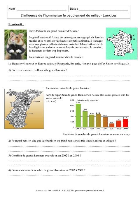 Influence de l'homme sur le peuplement du milieu - 6ème - Exercices corrigés - Remédiation - SVT ...