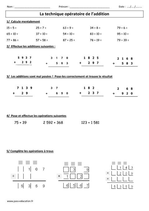 Technique op ratoire de l addition ce2 cm1 exercices for Calcul multiplication
