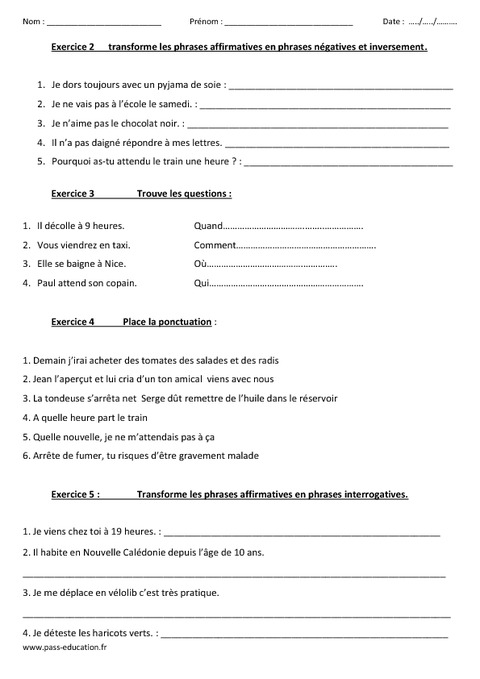 Types et formes de phrases - Evaluation - Cm1 - Cm2 - Pass Education