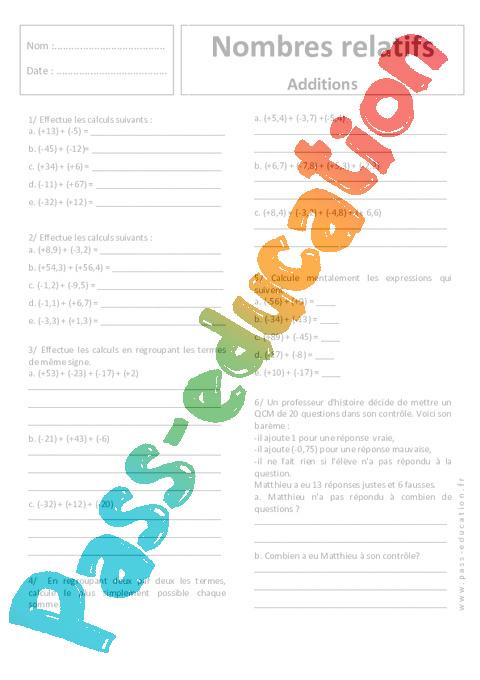 Additions - Nombres relatifs - 5ème - Exercices corrigés ...