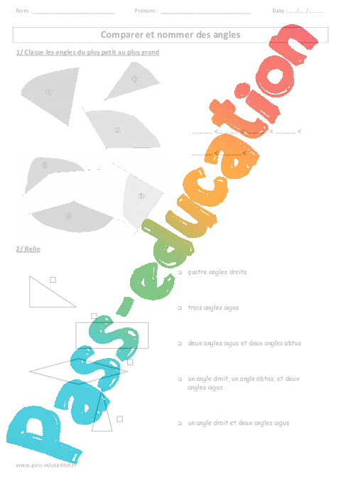 comparer et nommer des angles ce2 cm1 cm2 exercices corig s pass education. Black Bedroom Furniture Sets. Home Design Ideas