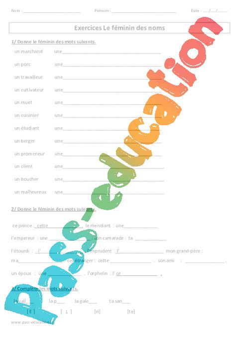 F minin des noms ce2 exercices avec correction pass - Exercice sur les tables de multiplication cm2 ...