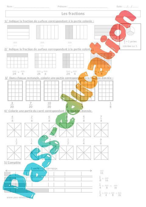 Fractions cm1 cm2 exercices corrig s num ration cycle 3 pass education - Les fractions cm1 exercices a imprimer ...