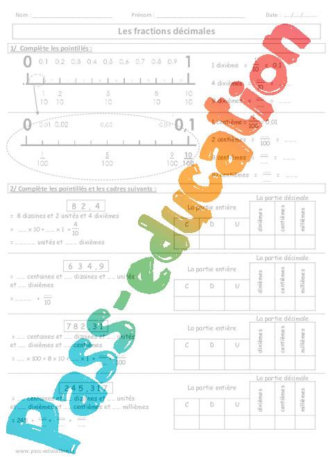 Fractions d cimales exercices imprimer cm1 cm2 - Fraction cm1 a imprimer ...