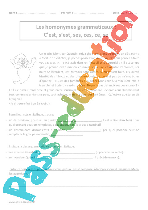 Homonymes Grammaticaux C Est S Est Ses Ces Ce Se Cm2