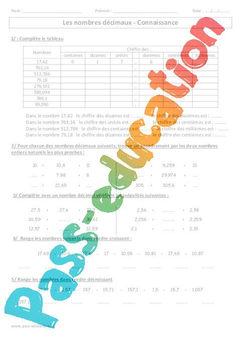 Nombres décimaux - Connaissance - Exercices corrigés - Cm1 - Cm2 Numération - Cycle 3 - Pass ...