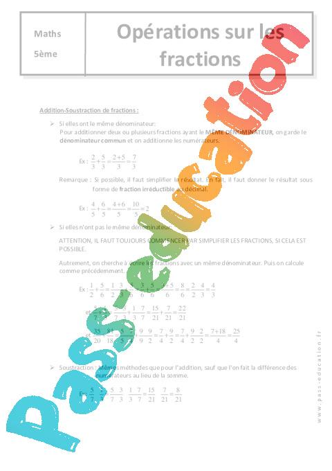 op u00e9rations sur les fractions - 5 u00e8me - cours