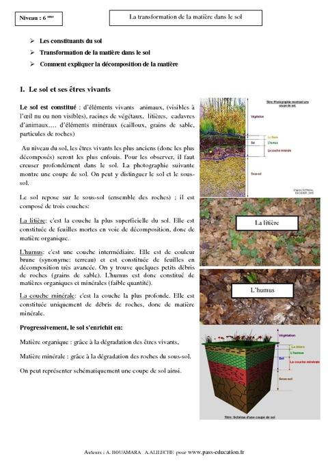 transformation de la matière dans le sol – 6ème – cours – svt