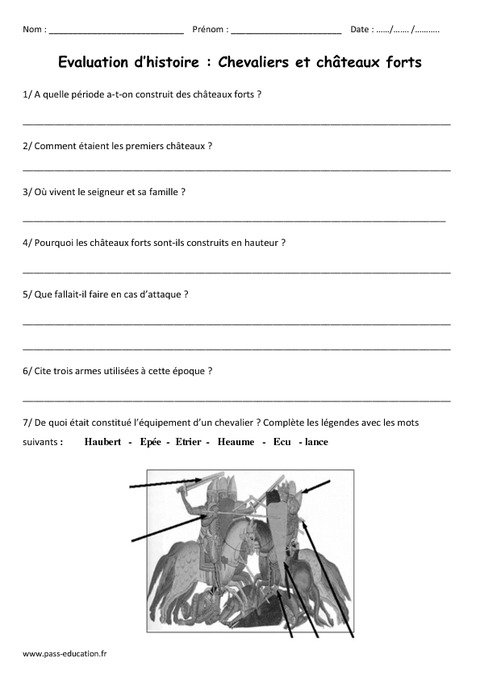 chevaliers ch teaux forts cm1 evaluation pass education. Black Bedroom Furniture Sets. Home Design Ideas