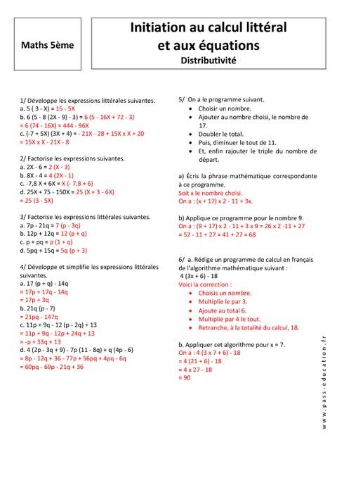 Cours de maths - 5ème