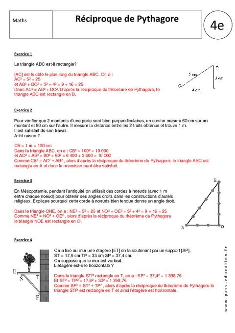 Réciproque de Pythagore - 4ème - Exercices corrigés ...