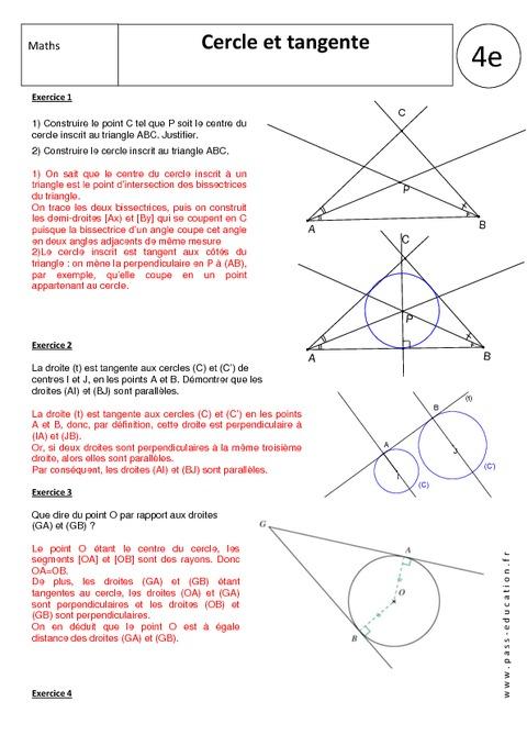 Tangente - Cercle - 4ème - Exercices corrigés - Géométrie ...