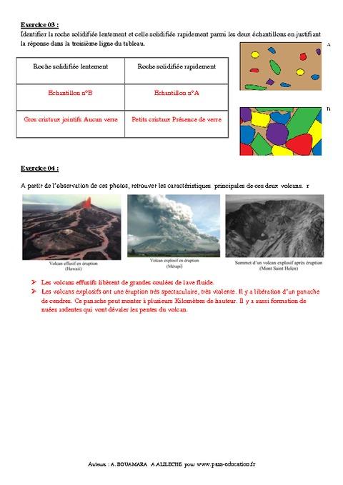 Volcanisme - 4ème – Exercices corrigés - Remédiation ...