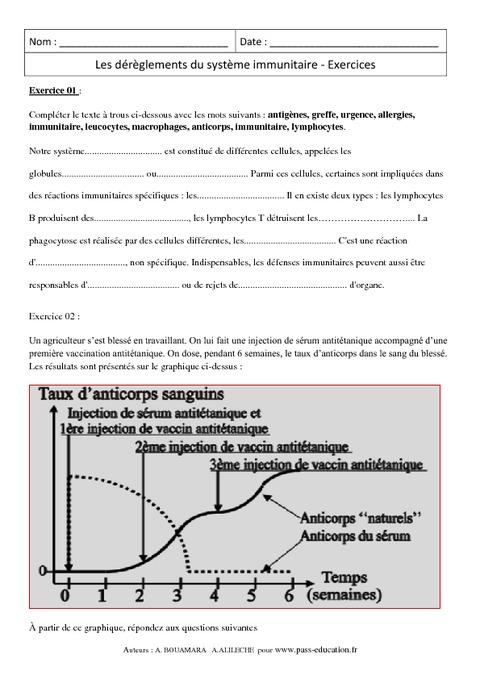 Dérèglements du système immunitaire - 3ème - Exercices ...