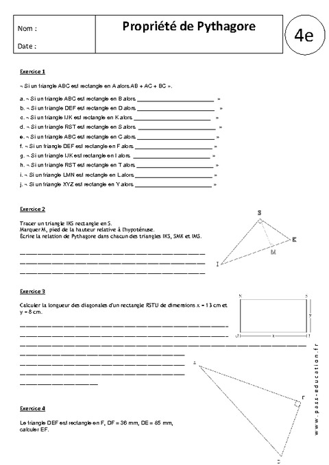 Propriété de Pythagore - 4ème - Exercices corrigés ...