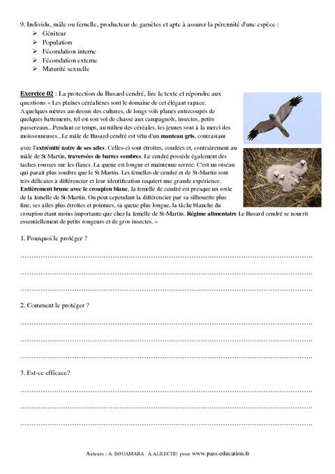 Reproduction sexuée - Conditions des milieux de vie - 4ème ...