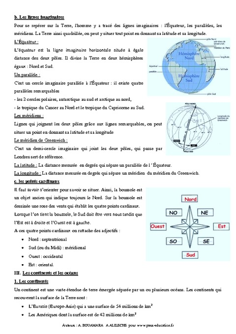 Terre cours 6 me g ographie pass education for 6eme planete