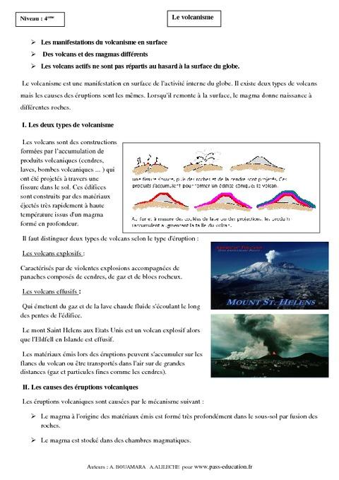 exercices sur les volcans 4eme