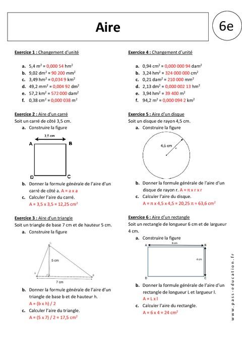 Aires 6 me exercices corrig s pass education - Exercice corrige de table de karnaugh pdf ...