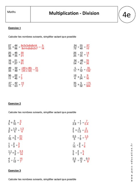 Multiplication division 4 me exercices corrig s - Table de multiplication et de division ...