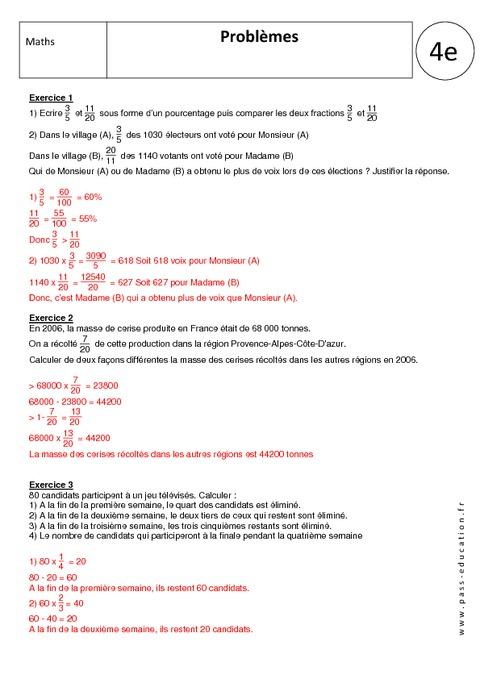 Problèmes - 4ème - Exercices corrigés - Nombres relatifs ...