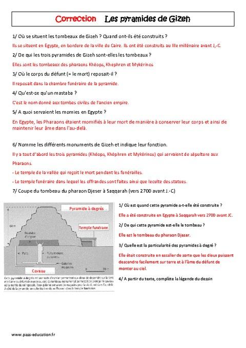 Pyramides de gizeh 6 me lecture documentaire egypte - La chambre des officiers controle de lecture ...