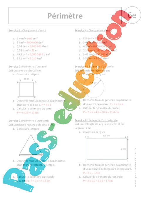 P rim tres 6 me exercices corrig s pass education - Calcul de metre carre ...