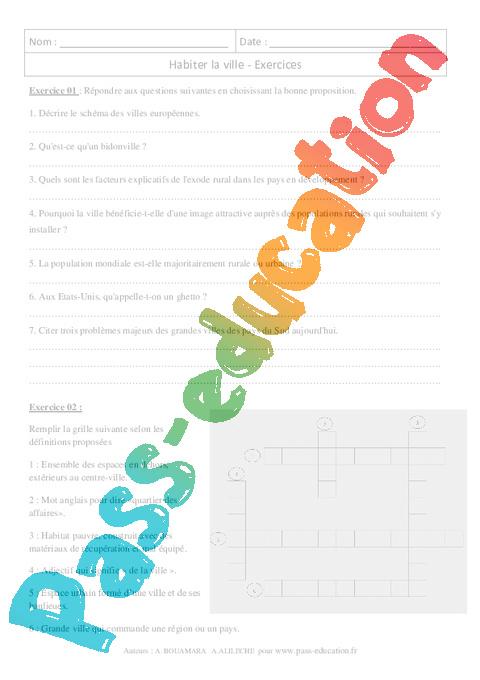 habiter la ville exercices corrig s 6 me g ographie pass education. Black Bedroom Furniture Sets. Home Design Ideas