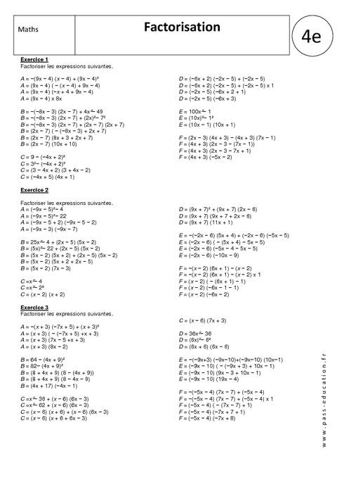 Utiliser la factorisation - 4ème - Exercices corrigés ...