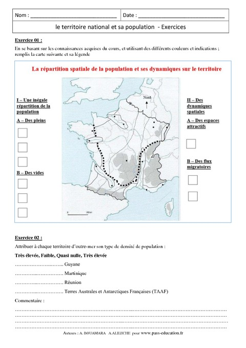 Le territoire national et sa population - Exercices ...
