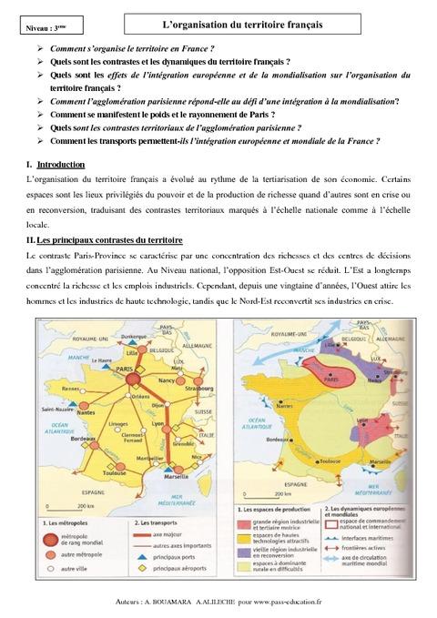 Organisation du territoire français - Cours - 3ème ...