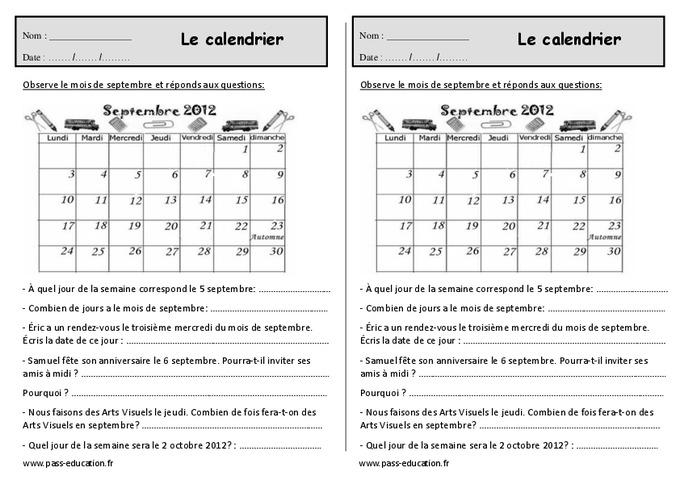 Le calendrier - Ce1 - Exercices à imprimer - Pass Education