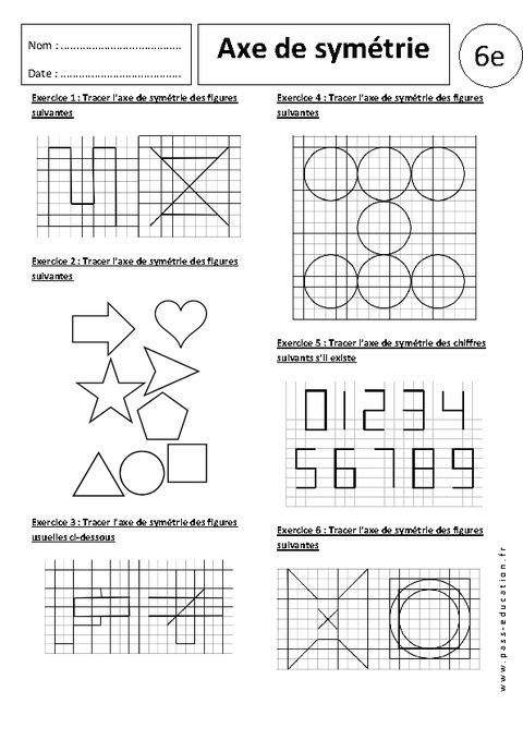 Axe de symétrie - 6ème - Exercices corrigés - Symétrie ...