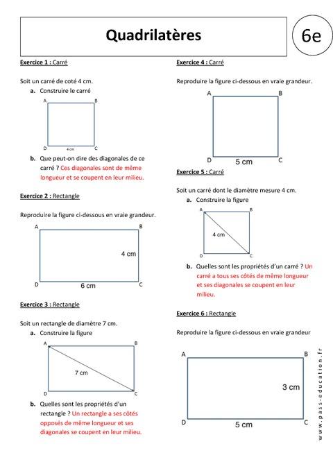 propriété diagonales carré
