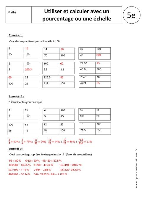 Utiliser et calculer avec un pourcentage ou une chelle - Un ou une thermos ...