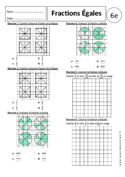 Fraction et partage - Exercices corrigés - 6ème ...