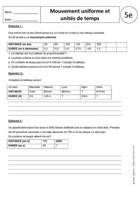 exercices de physique chimie 6eme