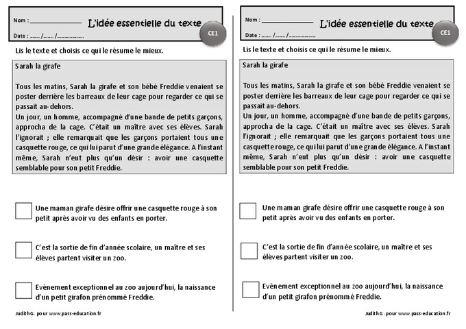Sarah la girafe - Ce1 - Exercices de lecture - Idées essentielles d'un texte - Pass Education