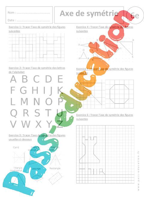 Axe de sym trie exercices corrig s 6 me sym trie axiale pass education - Symetrie a imprimer ...