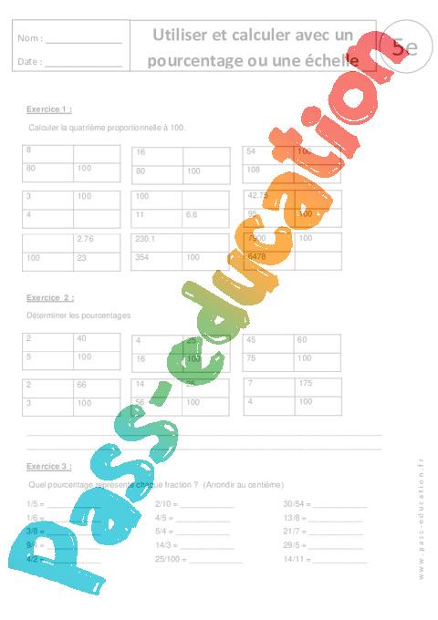 Calculer et utiliser un pourcentage ou une chelle 5 me exercices corrig s pass education - Un ou une thermos ...