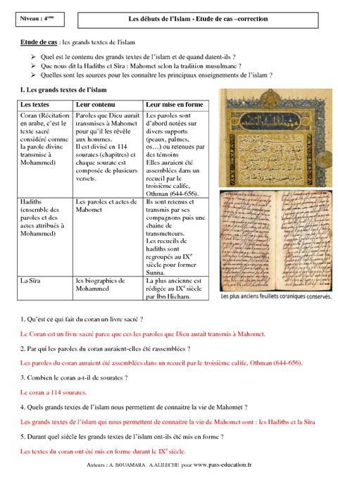 Les grands textes de l'islam - 5ème - Etude de cas - Début