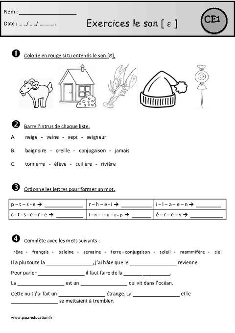 Exercices - Son ɛ / è - è - ê - e - et - ei - ai - Ce1 - Etude des sons - Pass Education