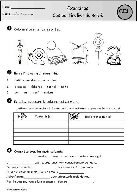 Exercices - Son è - Devant une consonne - Ce1 - Cycle 2 - Etude des sons - Pass Education