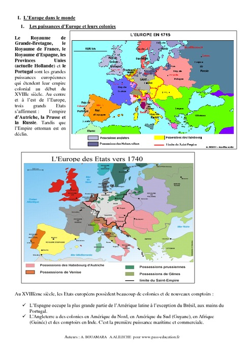 L'Europe dans le monde au XVIIIe siècle – 4ème – Cours ...