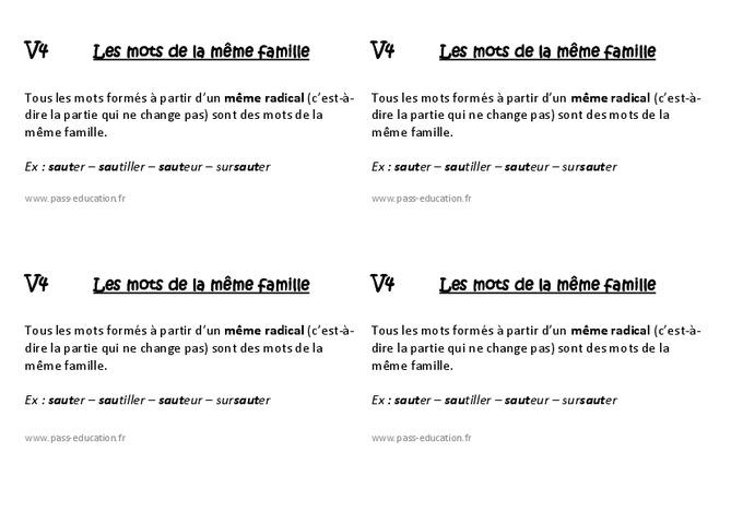 Mots de la même famille - Ce1 - Leçon - Pass Education