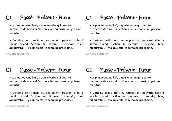 Passé - présent - futur - Ce1 - Leçon - Pass Education